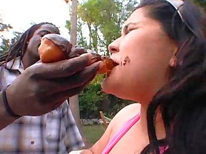 Black guy feeding huge white BBW