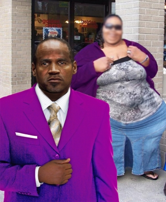 Nigel suited up, with a BBW, in front of golden corral buffet.