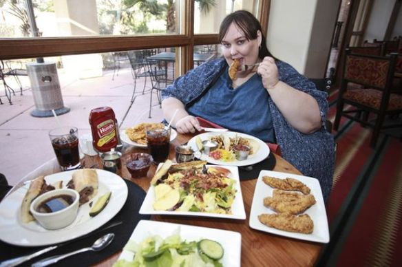 fat woman eating out